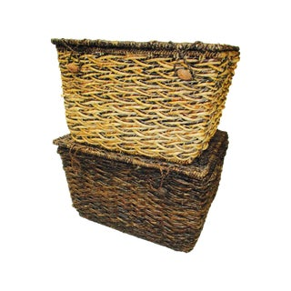 Woven Storage Nesting Hampers -  A Pair