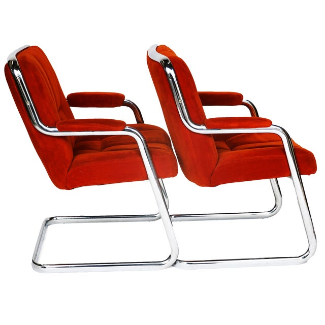 Pair Chrome Milo Baughman-Style Chairs - Image 3 of 10