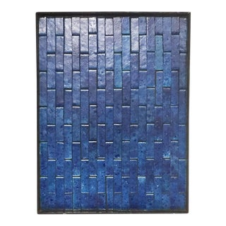 Large Mid Century Framed Blue Tile Slab - Wall Art