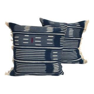African Indigo Ikat Fringe Pillows - A Pair