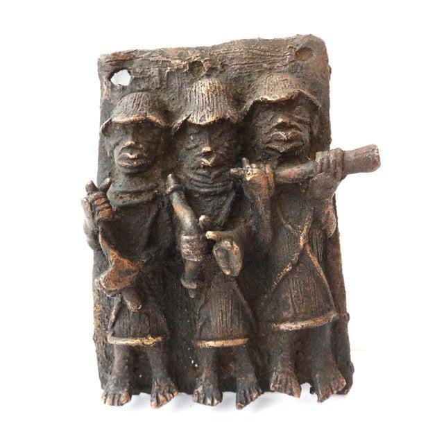 Image of Benin African Bronze Plaque of King with Warriors