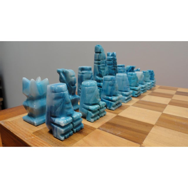 Image of Blue and White Stone Chess Set
