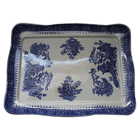 19th Century Blue Willow Ironstone Tray - Image 1 of 4