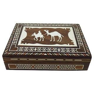 Camel Bone Inlaid Wood Box