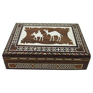 Camel Bone Inlaid Wood Box