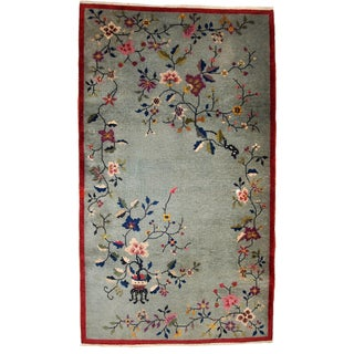 Antique Art Deco Chinese Handmade Rug - 4' x 7'
