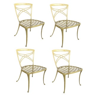 A Set of 4 American 1960's Yellow-Painted Aluminum Garden Chairs; by Brown Jordan