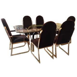 Brass Dining Table and Chairs in the Manor of Milo Baughman