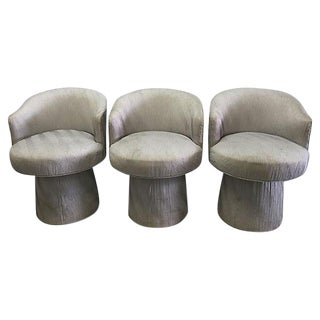 Vintage Gray Armless Swivel Chairs - Set of 3
