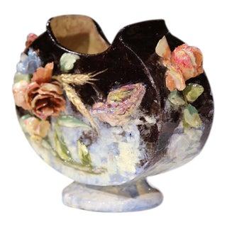 19th Century French Hand Painted Barbotine Jardiniere