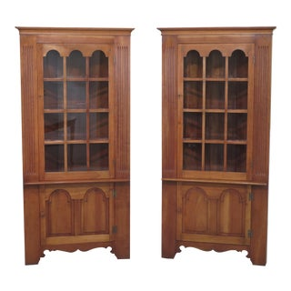 Stickley Cherry Valley Corner China Cabinets - A Pair