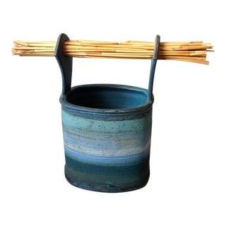 Blue Studio Pottery Art Basket