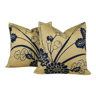 Hand Drawn Floral Batik Japanese Fukusa Pillow Covers - a Pair