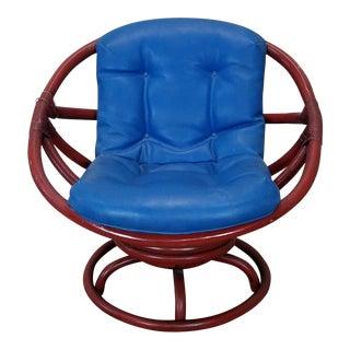 Vintage Ficks Reed 1950's Red Rattan Swivel Papasan Chair