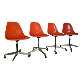 Herman Miller for Eames Orange Fiberglass Chairs - Set of 4