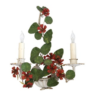Italian Tole Sconce With Red Blossoms
