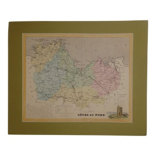 Vintage 19th Century Color Map of Brittany France