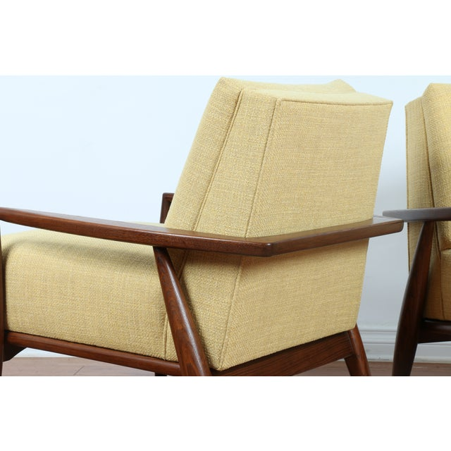 Mid-Century Ecru Lounge Chairs - A Pair - Image 10 of 11