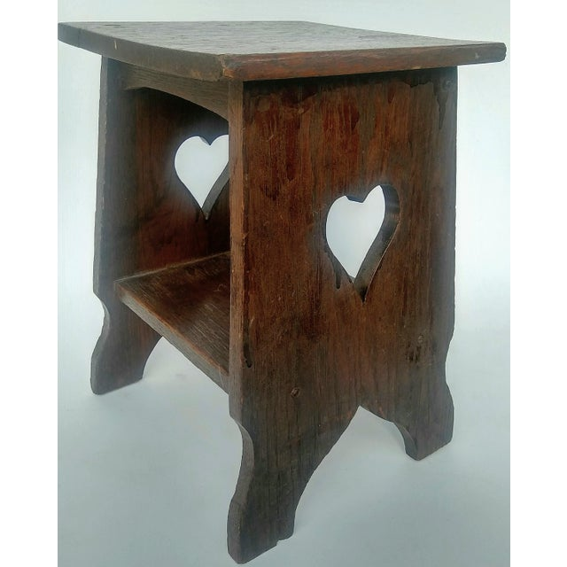 Arts & Crafts Mission Oak Side Table with Heart Cut Outs - Image 5 of 6