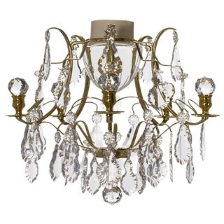 Baroque 5 Arm Brass Ball Bathroom Chandelier