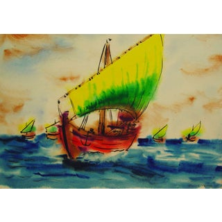 Bright Sailing Ships Watercolor by Edgar Peara