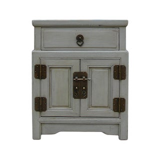 Chinese Gray Metal Hardware End Table Nightstand