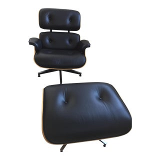 Eames Black Leather Lounge Chair & Ottoman