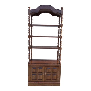 Ethan Allen Antiqued Pine Old Tavern Curio Book Shelf