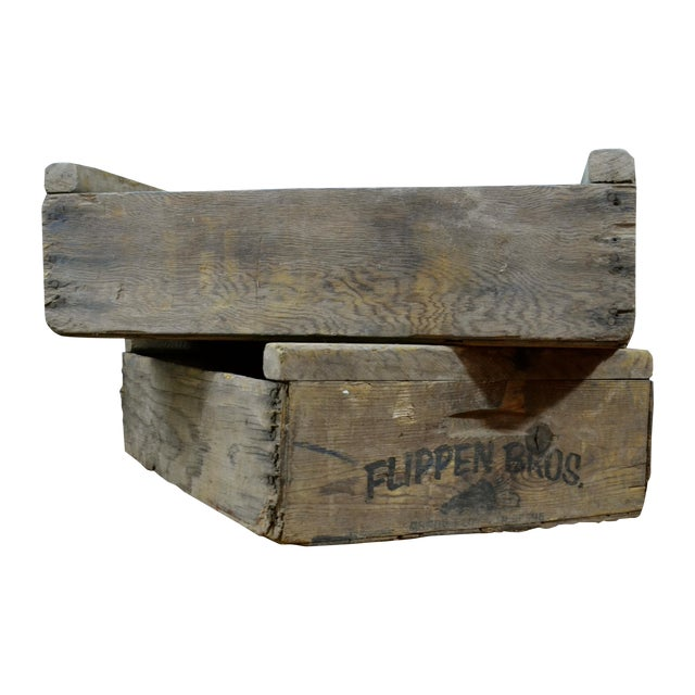 Image of Flippen Bros. Wooden Fruit Crates - A Pair