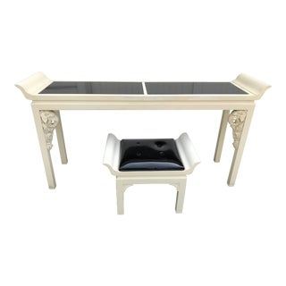 Gampel Stoll Elephant Chinoiserie Console & Stool - a Pair