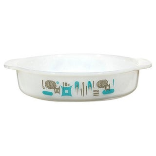 Mid-Century 1960s Turquoise Accented Glass Pan