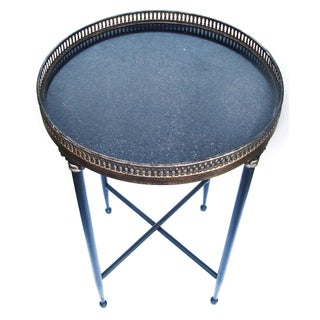 Granite Top Campaign Style Round Side Table