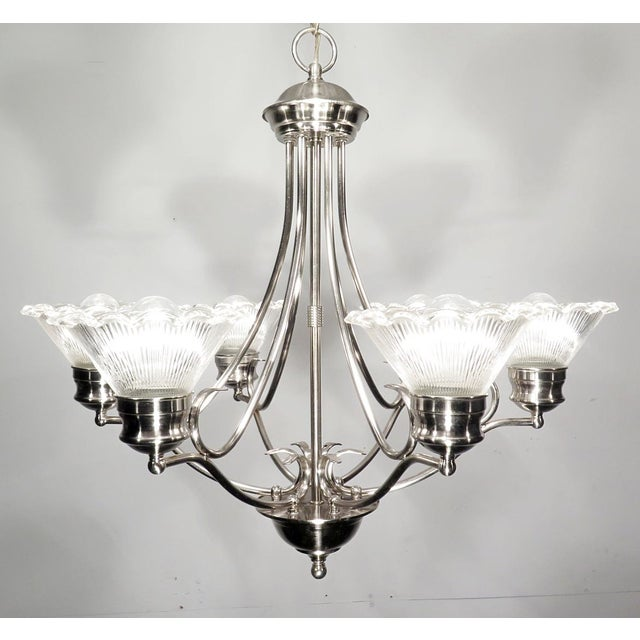 Image of Stainless Steel & Halophane Chandelier