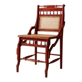 Antique Red Accent Chair With Cane Seat