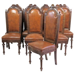 Regency Style Walnut Carved Side Chairs - Set of 12