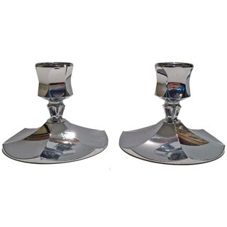 Irvinware Chrome Candle Holders - A Pair