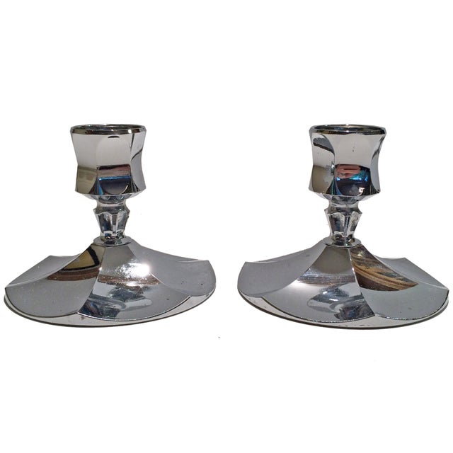 Image of Irvinware Chrome Candle Holders - A Pair