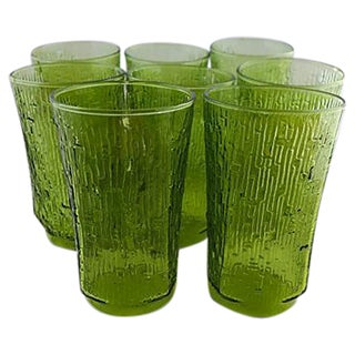 Mid Century Green Water Glasses - Set of 8