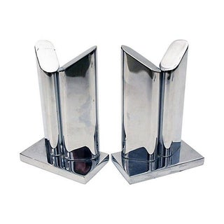 Chrome Modernist Bookends - Pair