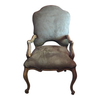 Taupe Suede Leather Chair