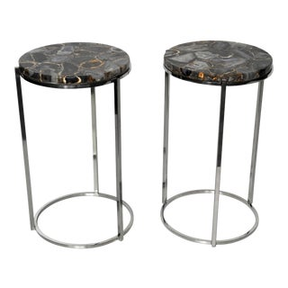 Chrome Side Tables With Natural Agate Tops - A Pair