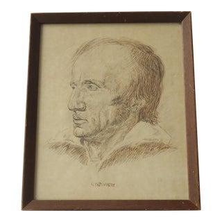 Vintage Ink Portrait of William Wordsworth by J McMahan
