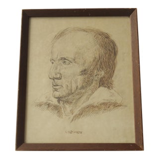 Vintage Ink Portrait of William Wordsworth by J McMahan