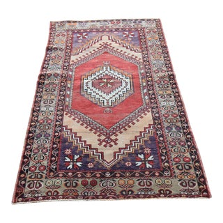 "Vintage Turkish Oushak Hand-Knotted Rug - 3'6"" x 6'6"""