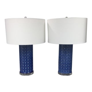 Blue Ceramic Table Lamps - A Pair