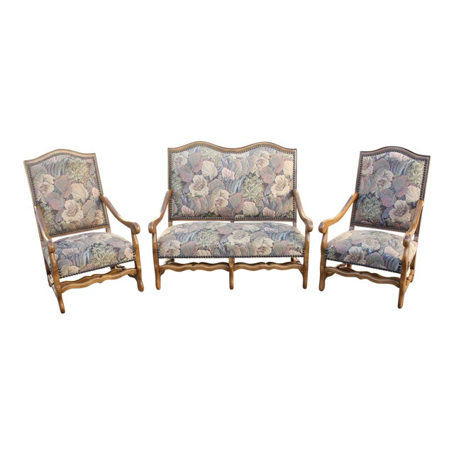 Solid Walnut Louis XIII Style Os De Mouton 2 Armchairs 1 settees Circa 1900s - Set of 3 - Image 1 of 11