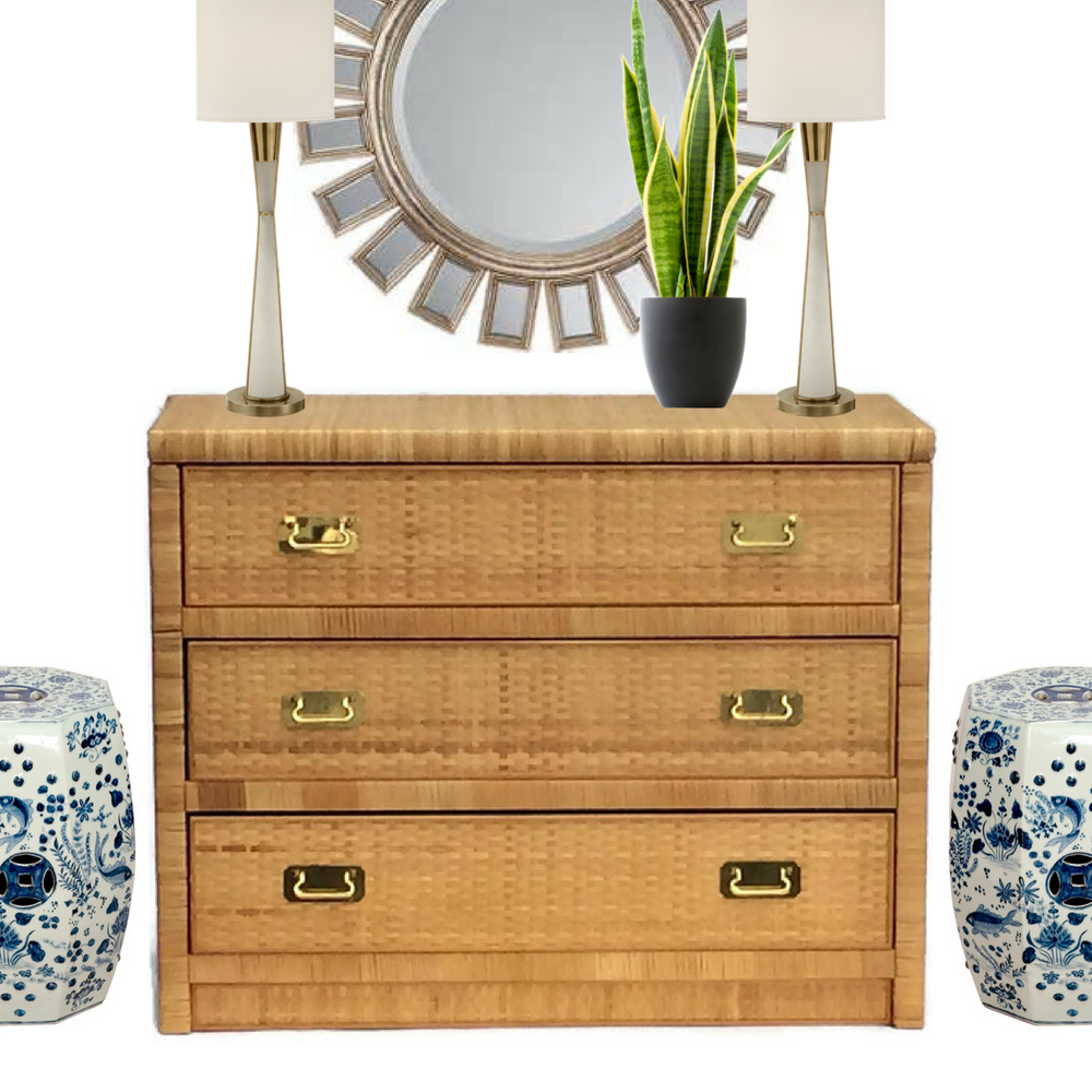 Vintage Rattan U0026 Brass Hardware Chest Of Drawers Console Table   Image 3 ...