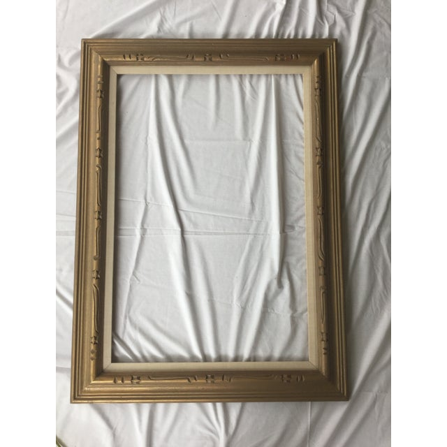 Large Mid-Century Gold Carved Gold Wood Frame - Image 11 of 11