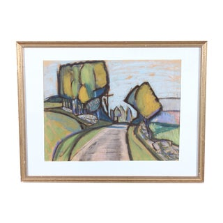 J. Eriksson Road to Summer House Pastel Drawing