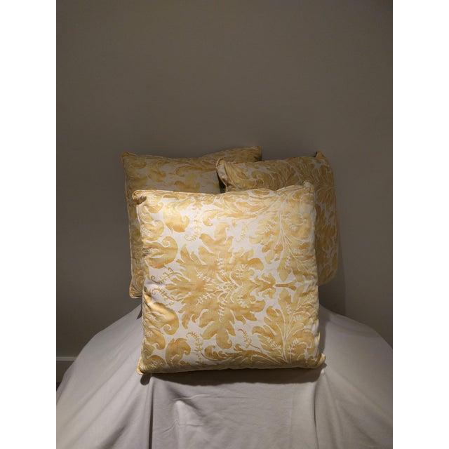 Custom Italian Gold Damask Silk Pillows - Set of 3 - Image 4 of 11